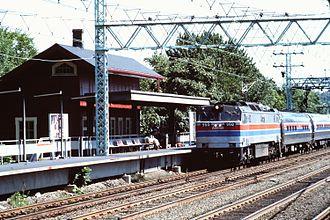 GE E60 - Amtrak E60CH No. 960 pulls a train through Cos Cob, Connecticut in September 1975
