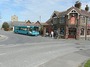 Cliffe, Kent - Arriva Medway Towns Plaxton Pointer 2 bodied Dennis Dart SLF outside the Six Bells pub in April 2014