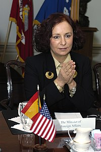 Portrait shot of Spanish Foreign Minister Ana de Palacio at a table during a visit to the USA in 2004