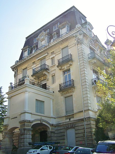 Sight of former Hôtel Excelsior (known today as Résidence Beauregard), in city of Aix-les-Bains, in Savoie, France.