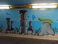 Ancient columns, street art 2016 at Fonyód train station in Hungary.jpg