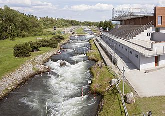 Ondrej Cibak Whitewater Slalom Course - The final section of the course as it passes in front of the newly constructed stadium.