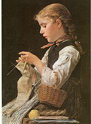 Anker Strickendes Mädchen 1884.jpg