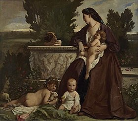 Family portrait (A mother with children playing at a fountain)