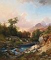 Anton Hansch - A mountain landscape with a smithy.jpg