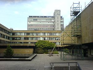 Appleton Tower - Appleton Tower under renovation, 2006; seen rising above the courtyard (also under repair) of the David Hume Tower