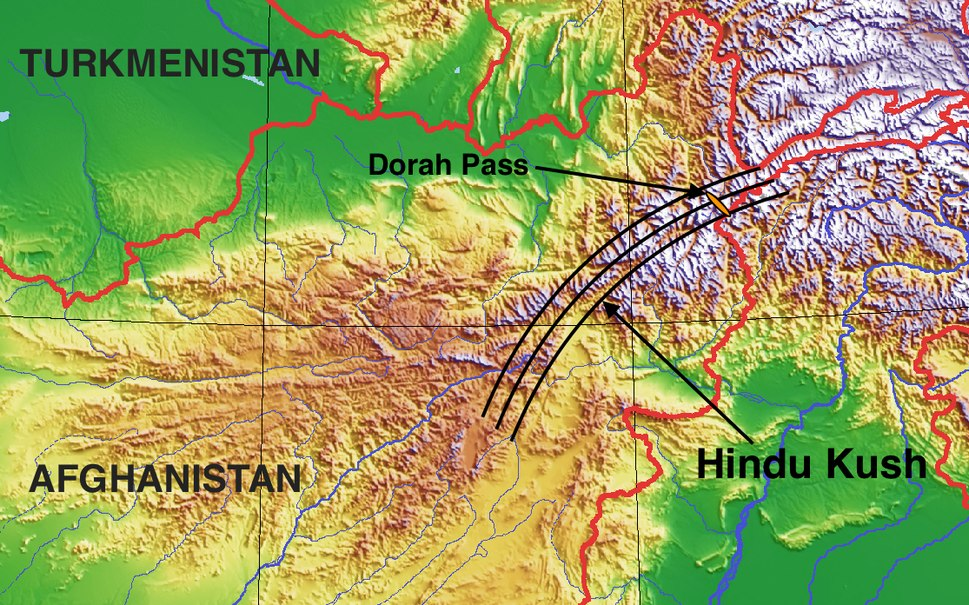 Approximate Hindu Kush range with Dorah Pass
