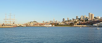 San Francisco Maritime National Historical Park - From left to right: San Francisco Maritime National Historical Park, Telegraph Hill and Coit Tower, Fisherman's Wharf, Downtown San Francisco, Russian Hill and Aquatic Park Historic District.