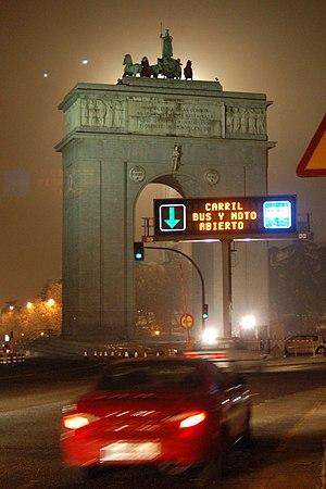 Night view of Arco de la Victoria in Madrid (S...