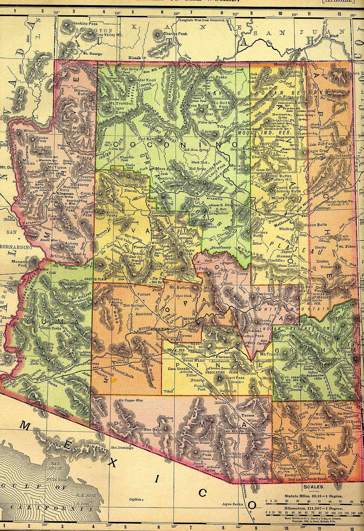 History Of Arizona Wikipedia - Southwest us county map