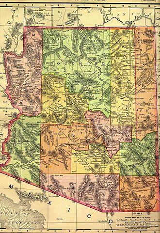 History of Arizona - 1895 map of the Arizona Territory by Rand McNally.