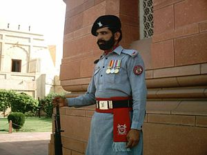 Pakistan Rangers - Ranger guarding the Tomb of Muhammad Iqbal in Iqbal Park, Lahore, Punjab, Pakistan.