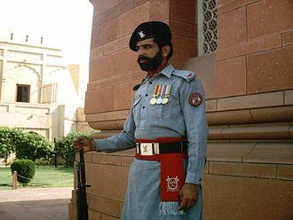 Pakistan Rangers - Ranger guarding the Tomb of Muhammad Iqbal in Iqbal Park, Lahore, Punjab, Pakistan.