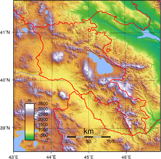Outline of Armenia - An enlargeable topographic map of Armenia