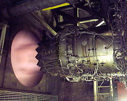 A Pratt & Whitney F135 engine undergoes altitude testing at the Arnold Engineering Development Complex during 2006.