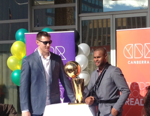 Aron Baynes and Patty Mills in front of the ACT Legislative Assembly in July 2014