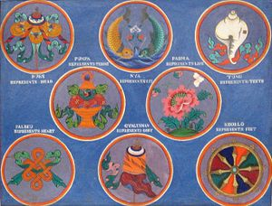 Ashtamangala - Ashtamangala: first row (left to right): parasol, pair of golden fish, conch; second row: treasure vase, lotus; Last row: infinite knot, victory banner and wheel.