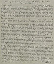 Acuerdos de Asia Menor - Sr. Sazanof, Ministre des Affaires Étrangeres, Pétrograd a Maurice Paléologue, Ambassadeur de France en Russie, 26 de abril de 1916.jpg
