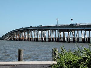 Maryland Route 611 - The Verrazano Bridge, which carries MD 611 over the Sinepuxent Bay between the mainland and Assateague Island