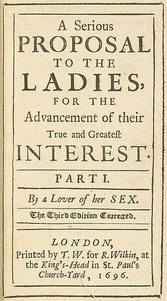 Mary Astell - Title page from the third edition of A Serious Proposal