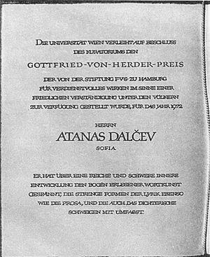 Atanas Dalchev - Atanas Dalchev's Herder Prize, 1972