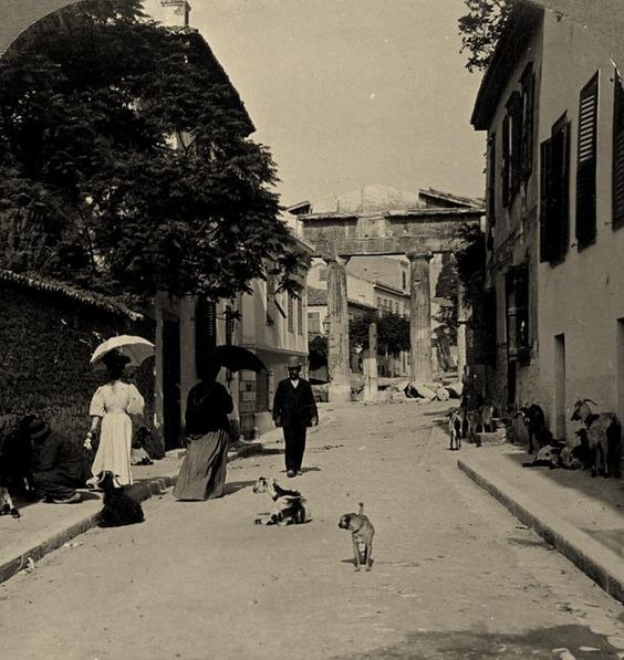 Athens promenade by the gate of Athena Archegetis 1908