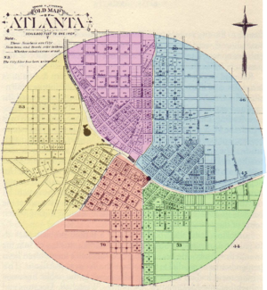 Atlanta annexations and wards - Layout of Atlanta's five wards (1854–1871)