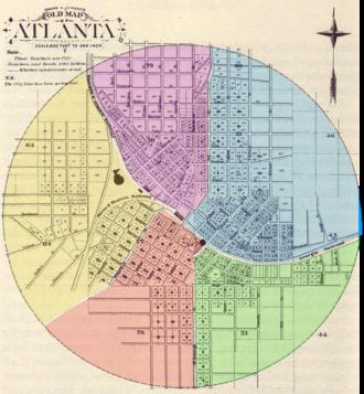 Atlanta annexations and wards - Layout of Atlanta's five wards (1854–1871)