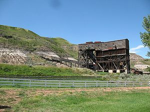 Economy of Alberta - Remains of the former Atlas Coal Mine, near Drumheller, now a National Historic Site of Canada.