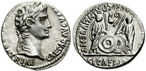 Gaius Caesar - Gaius and Lucius Caesar standing with shields and spears between them; simpulum and lituus above.