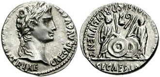 Julia (gens) - Denarius issued under Augustus from the mint at Lugdunum (present-day Lyon, France), showing Gaius and Lucius Caesar standing facing on the reverse (circa 2 BC–AD 14)