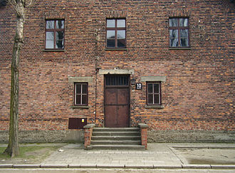 Block 10, Auschwitz I, where medical experiments were performed on women Auschwitz Mengele Block 10.jpg
