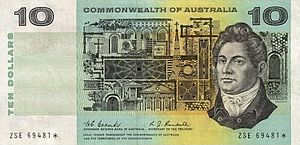 Francis Greenway - Francis Greenway on the first Australian 10 dollar note, perhaps the only convicted forger in the world depicted on a banknote.