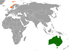 Map indicating locations of Australia and Norway