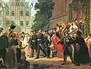 Gustav Graef - The East Prussian Landwehr, heading out to fight Napoleon's army after their consecration in church (1861)