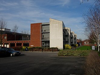 Avenue Campus - The Campus from the south, showing the main Parkes building extension (centre) and the Archaeology building (far left).