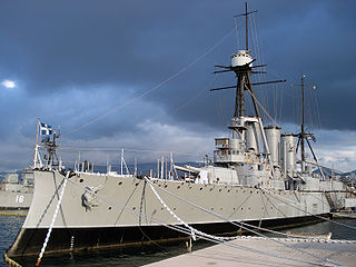 Greek cruiser <i>Georgios Averof</i> Pisa-class cruiser operated by the Hellenic Navy
