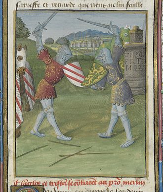 Attributed arms - Lancelot (arms with three red bends) and Tristan from a 15th-century manuscript