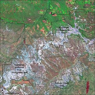 Badlands Wilderness - False-color satellite image of the park