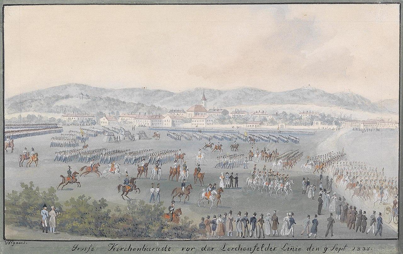 Balthasar Wigand Lerchenfelder Linie Große Kirchenparade 1838.jpg