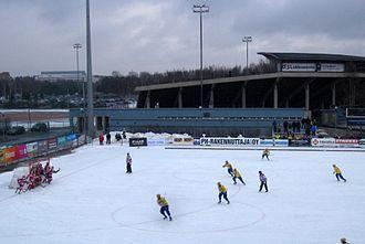 Oulun Luistinseura - Oulun Luistinseura beat Jyväskylän Seudun Palloseura in the 2014 Finland men's national bandy championship final. Here playing at home.