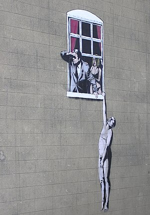 An art work by Banksy, at the bottom of Park S...