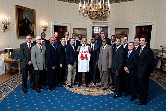 2008–09 Chicago Bulls season - The 2008–09 team visits President of the United States Barack Obama at the White House on February 26, 2009.