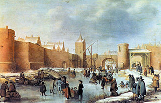 Winter Scene with Skaters on a Town Moat