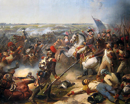 The French Revolutionary Army defeated the combined armies of Austrians, Dutch and British at Fleurus in June 1794. Bataille de Fleurus 1794.JPG