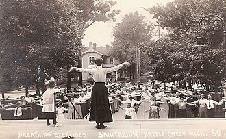 John Harvey Kellogg - Breathing exercises at Battle Creek Sanitarium (c. 1900)