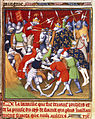 Battle of Poitiers - Grandes Chroniques de France (c.1415), f.166 - BL Cotton MS Nero E II.jpg