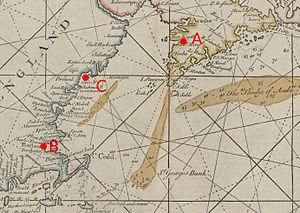 Siege of Port Royal (1710) - Annotated detail from a 1713 map showing eastern New England and southern Nova Scotia/Acadia.  Port Royal is at A, Boston at B, and Casco Bay at C.