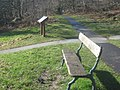 Bench and information panel at a footpath junction - geograph.org.uk - 1731804.jpg