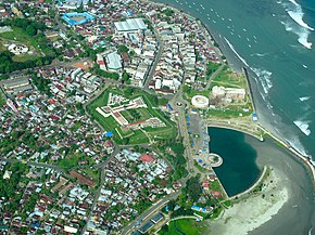 Aerial view of Bengkulu City with Fort Marlborough in the middle.